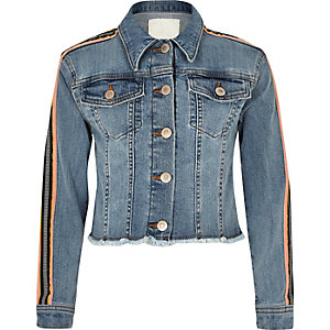 Girls blue tape sleeve denim jacket
