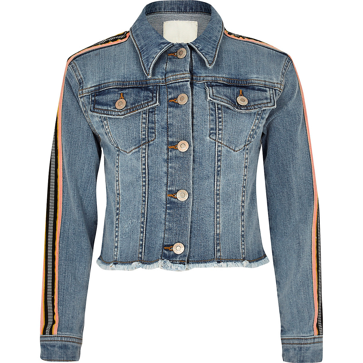 Girls Blue Tape Sleeve Denim Jacket Jackets Coats Jackets Girls