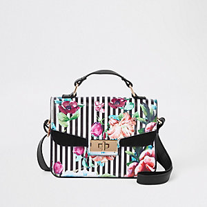 Girls white floral cross body satchel bag