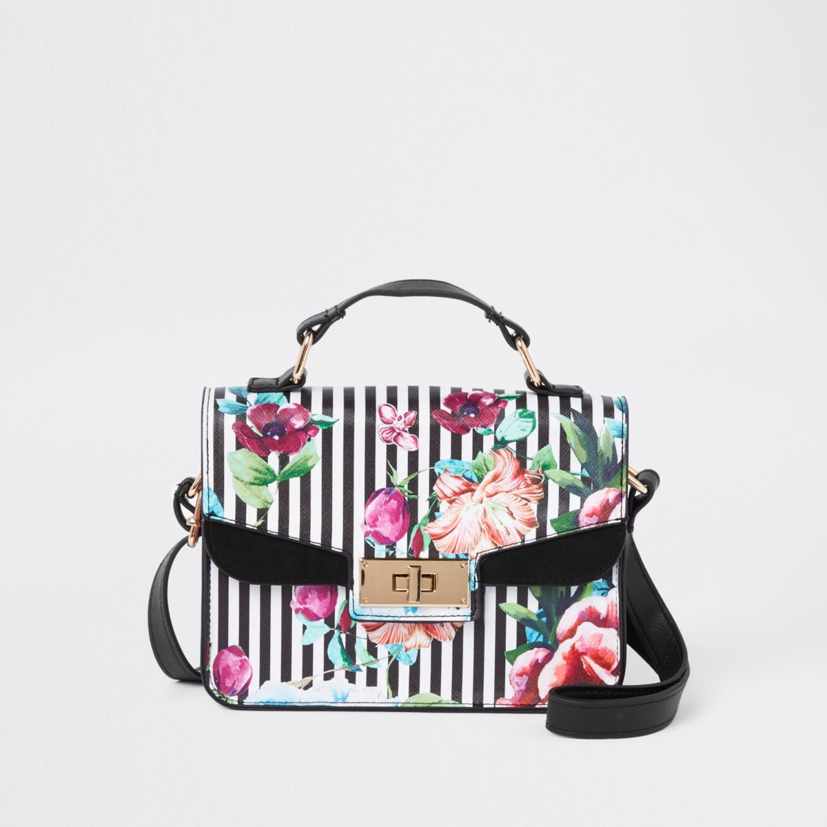 Girls white floral cross body satchel bag