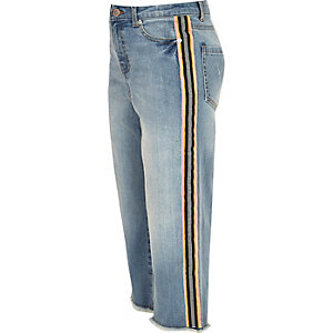Jupe-culotte large en denim bleue avec bandes latérales pour fille