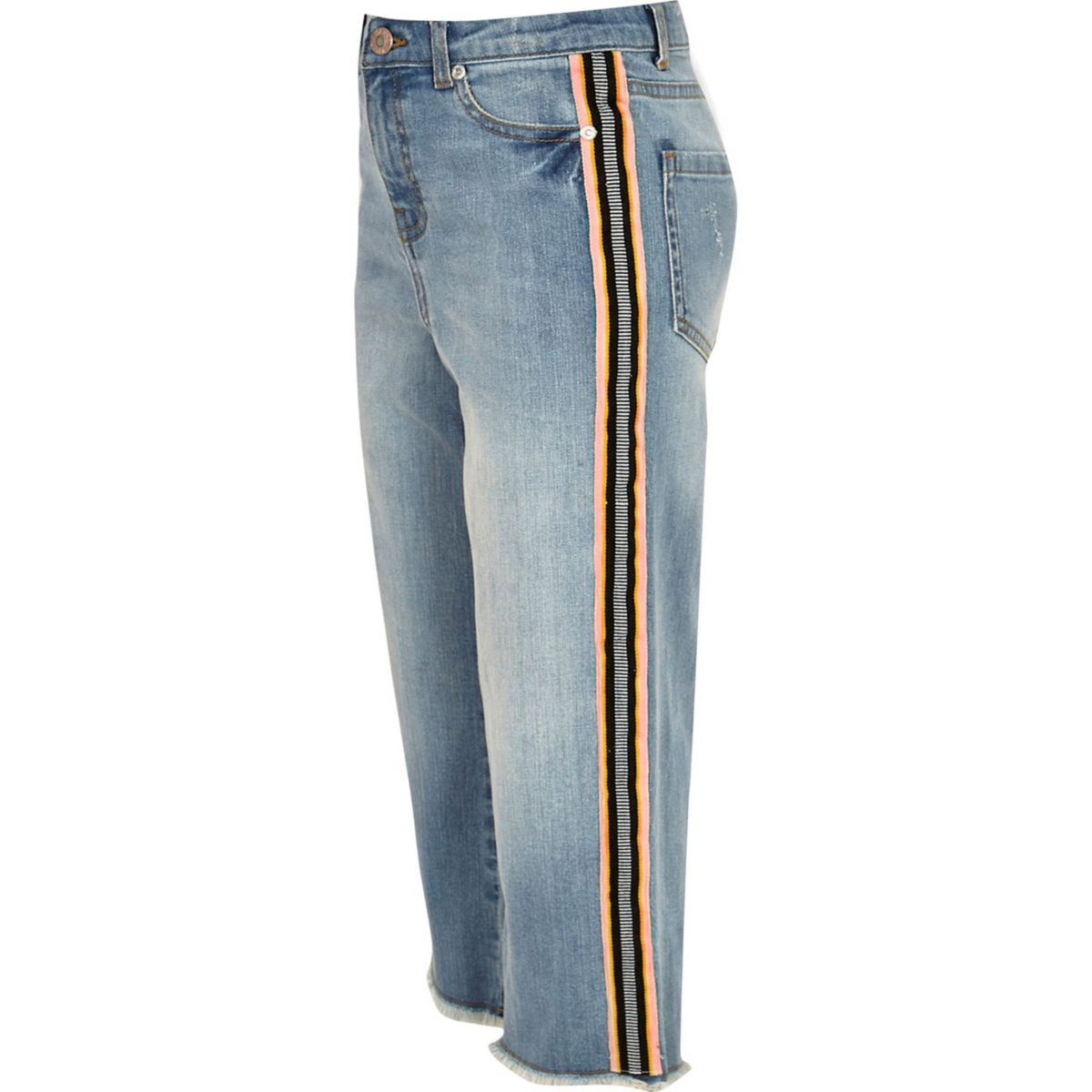 Girls blue wide leg tape denim culottes
