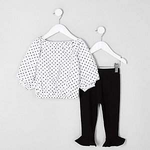 Mini girls white polka dot top outfit