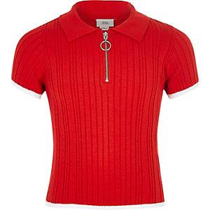 Rood aansluitend geribbeld poloshirt voor meisjes
