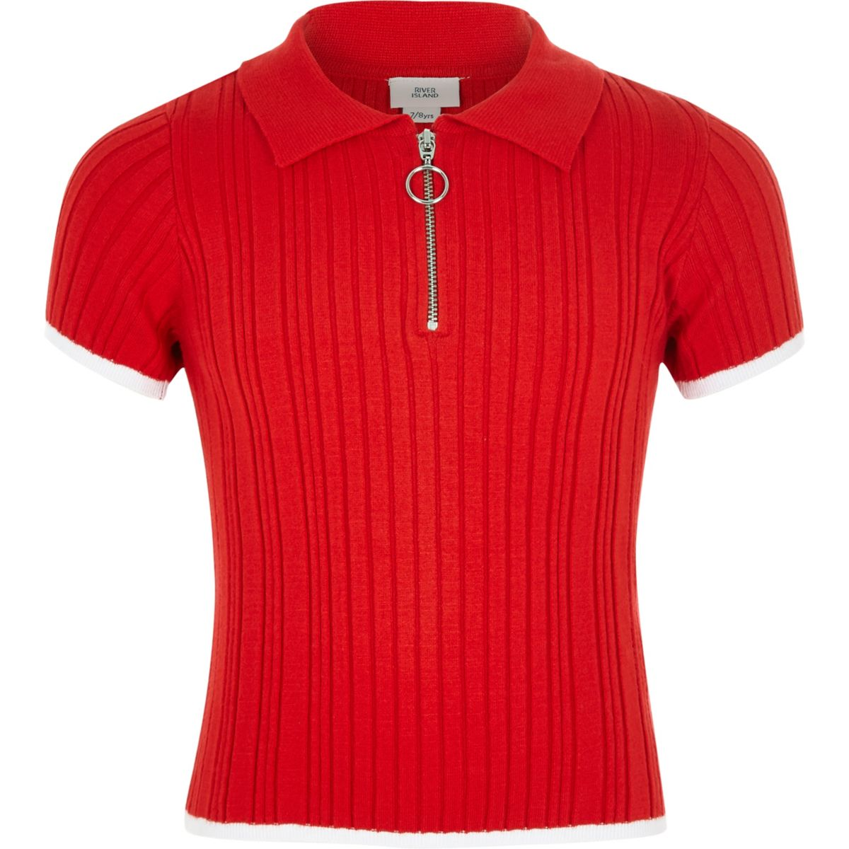 Girls red fitted ribbed polo shirt
