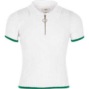 Girls white fitted ribbed polo shirt