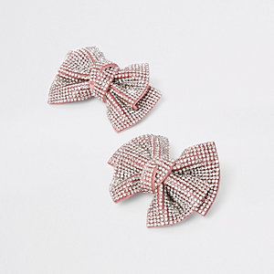 Girls pink diamante hair clip pack