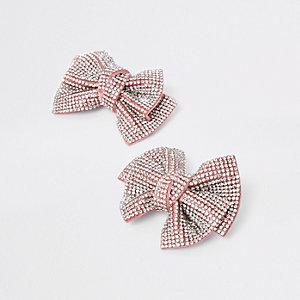 Girls pink rhinestone hair clip pack