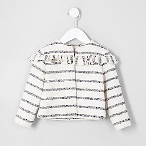 Mini girls cream stripe frill jacket
