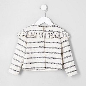 Mini girls cream stripe frill jacket