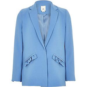 Girls blue frill pocket blazer