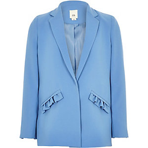 Girls blue frill pocket blazer
