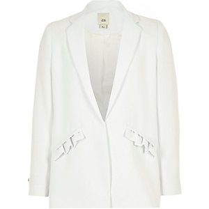 Girls white frill pocket blazer