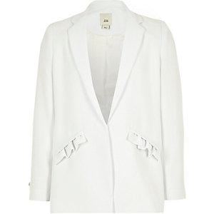 Blazer blanc à poches et volants pour fille