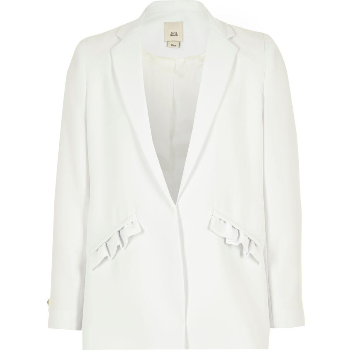 Girls white frill pocket blazer