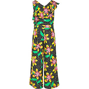 ​Girls black floral frill culotte jumpsuit