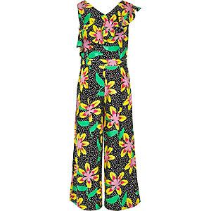 Girls black floral frill culotte jumpsuit