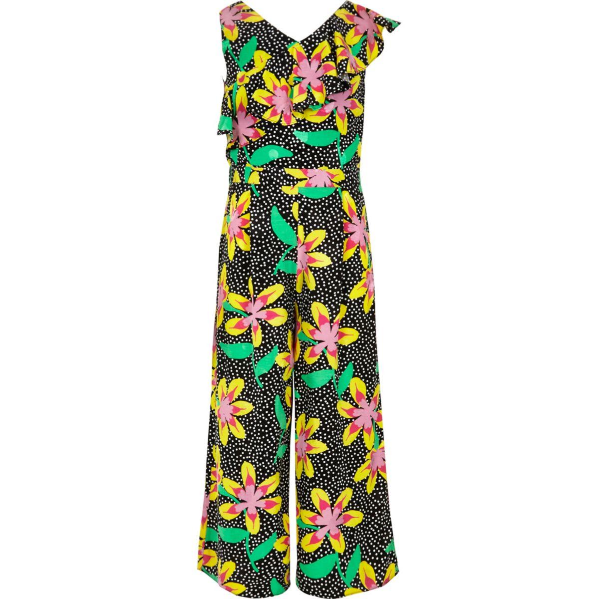 Combinaison jupe-culotte noire à fleurs avec volants pour fille