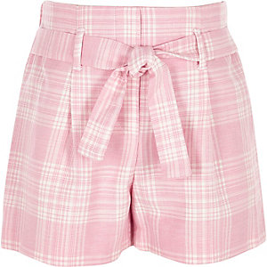 Girls pink check tie waist short