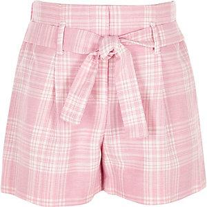 Girls pink check tie waist short