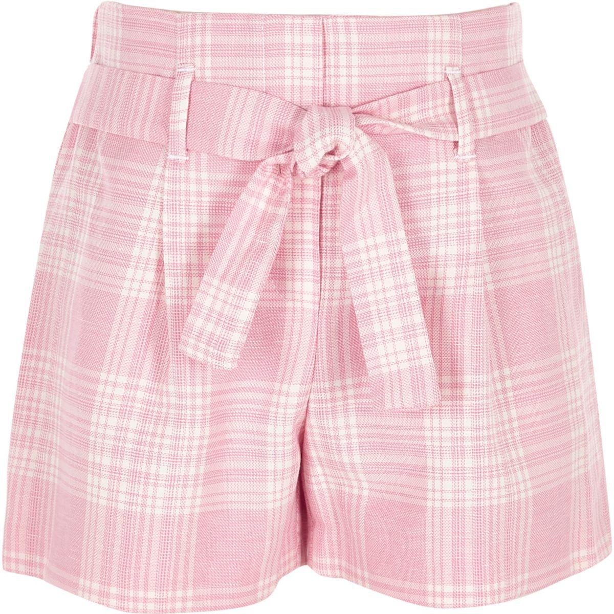 Short à carreaux rose noué à la taille pour fille