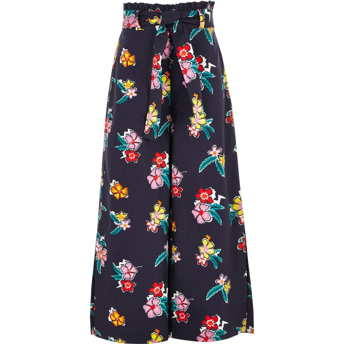 Pantalon large bleu avec taille haute ceinturée pour fille
