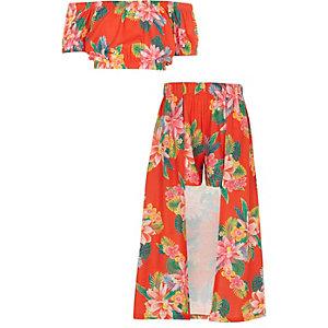 Ensemble avec jupe-short imprimé tropical pour fille