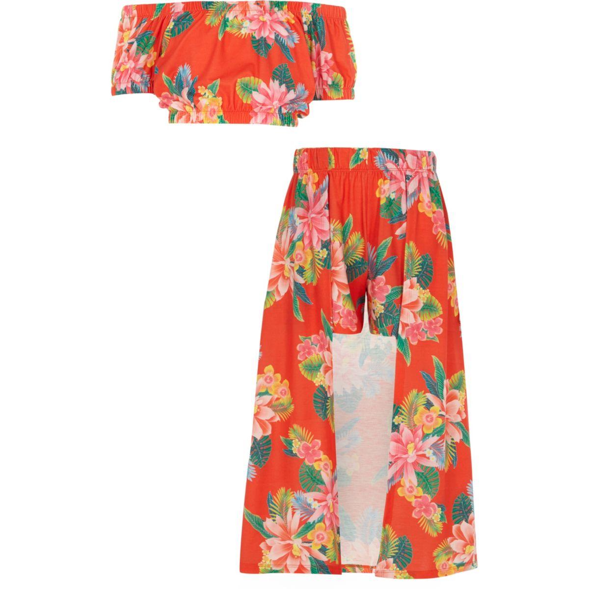 Girls tropical print skort outfit
