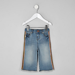 Mini girls blue wide leg tape denim culottes