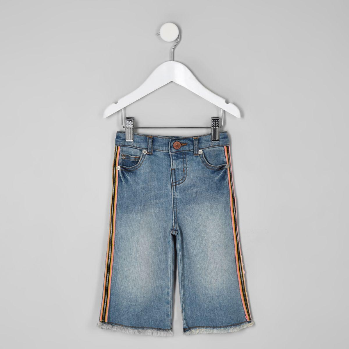 Mini girls blue wide leg tape denim culottes