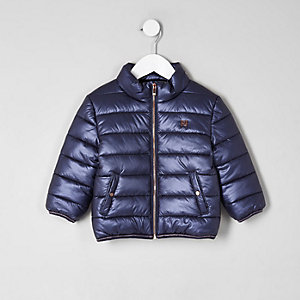Mini girls navy puffer coat