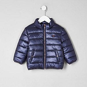 Mini - Marineblauwe gewatteerde jas voor meisjes