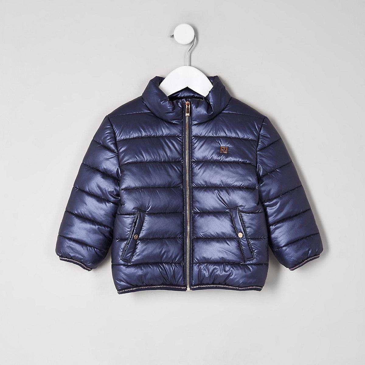 Mini girls navy puffer coat