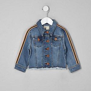 Mini - Blauw denim jack met biezen op de mouw voor meisjes