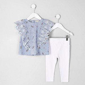Mini - Blauwe gestreepte outfit met ruches voor meisjes