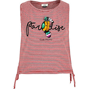 Rode gestreepte tanktop met 'Paradise'- en papegaaienprint voor meisjes