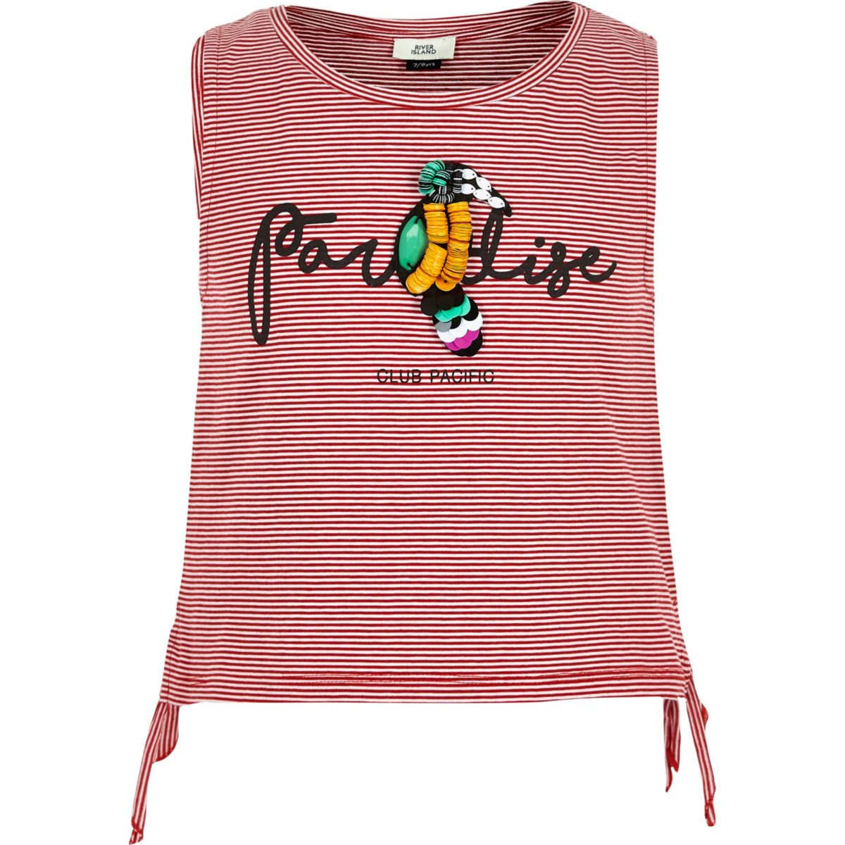 Girls red stripe 'Paradise' parrot tank top
