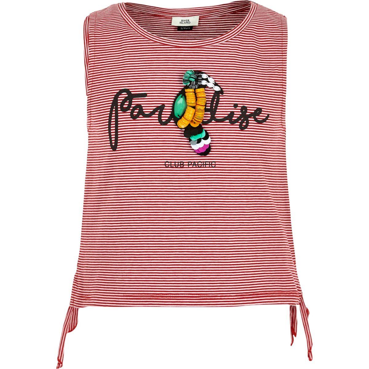 Débardeur rayé rouge «Paradise» motif perroquet pour fille
