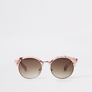 Girls pink marble mirror lens sunglasses
