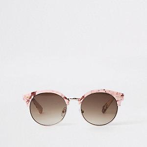 Roze zonnebril met marmereffect en spiegelglazen voor meisjes