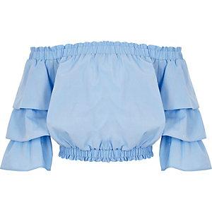 Blaues Bardot-Oberteil mit Rüschenärmeln