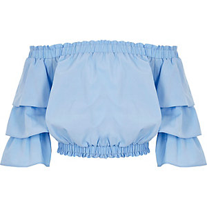 Top Bardot bleu avec manches à volants pour fille