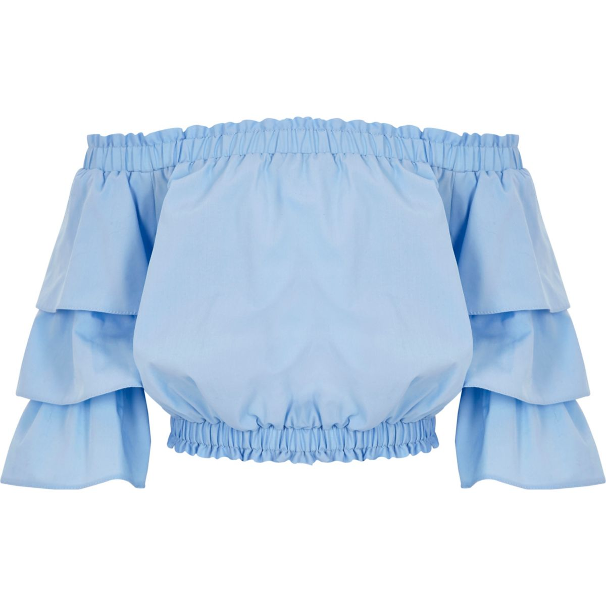 Girls blue frill sleeve bardot top