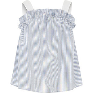 Girls blue stripe frill cami top