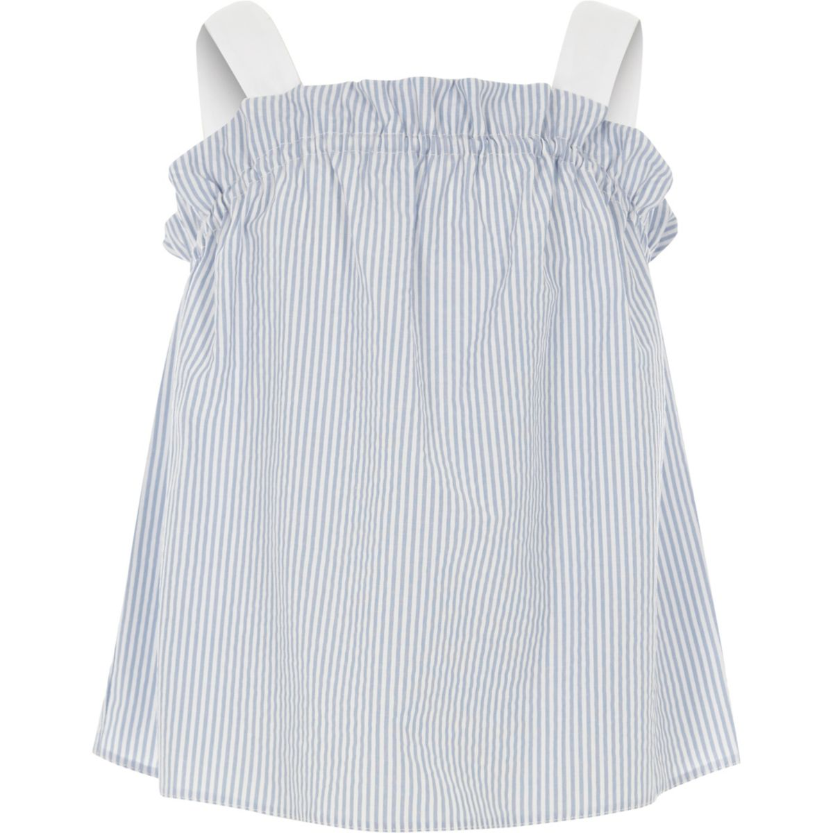 Girls Blue Stripe Frill Cami Top by River Island