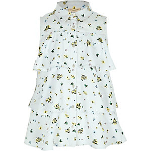 Girls blue floral tiered sleeveless shirt