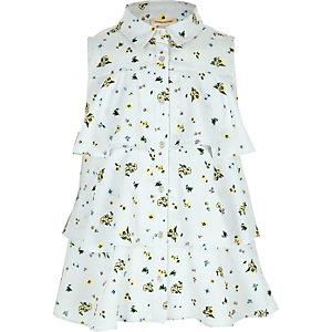Chemise à fleurs bleue sans manches à volants pour fille