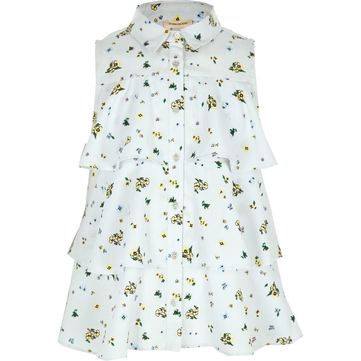 Girls blue floral tiered sleeveless shirt