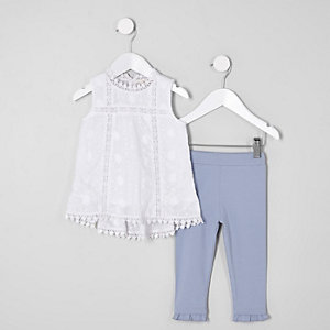 Mini girls shell top and leggings outfit