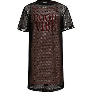 """T-Shirt-Kleid """"good vibes"""" aus schwarzem Netzstoff"""
